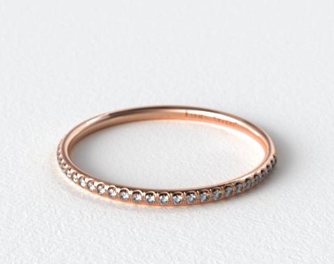 14K Rose Gold U Pavé Rounded Wedding Ring