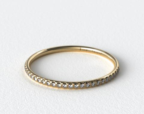 18K Yellow Gold U Pave Rounded Wedding Band (.16 CTW.)