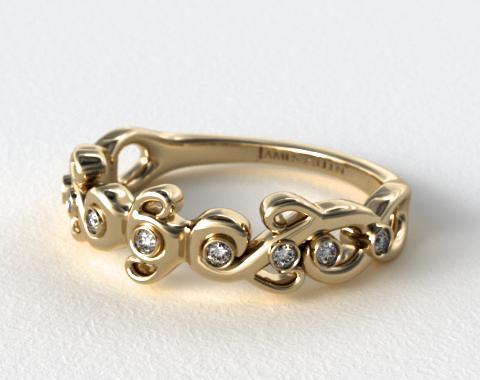 18K Yellow Gold Blossoming Vine Diamond Wedding Ring