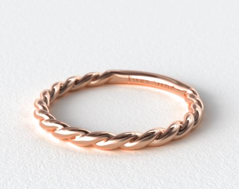 14K Rose Gold Cable Wedding Band