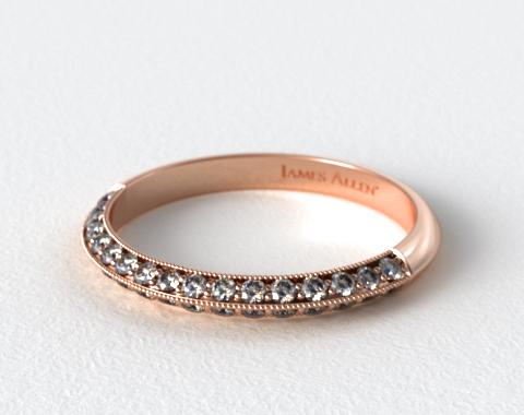 14K Rose Gold Pave Knife Edge Lotus Band