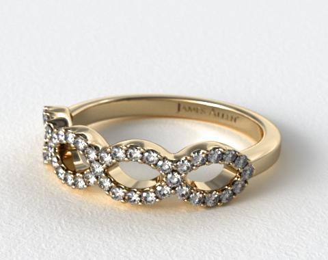 18K Yellow Gold Pave Infinity Diamond Wedding Ring