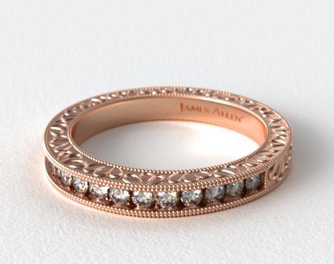 14K Rose Gold Hand Engraved Channel Set Round Brilliant Diamond Wedding Ring