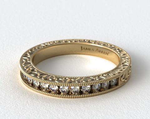 14K Yellow Gold Hand Engraved Channel Set Round Brilliant Diamond Wedding Ring