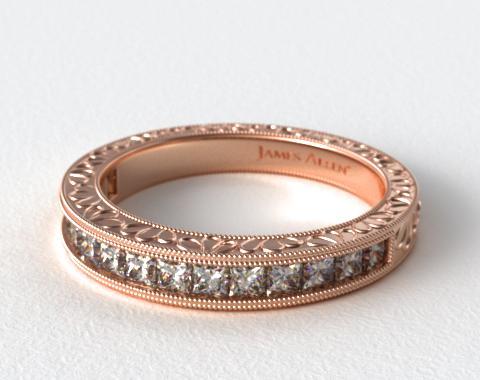 14K Rose Gold Hand Engraved Channel Set Princess Shape Diamond Wedding Ring