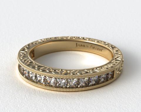 14K Yellow Gold Hand Engraved Channel Set Princess Shape Diamond Wedding Ring