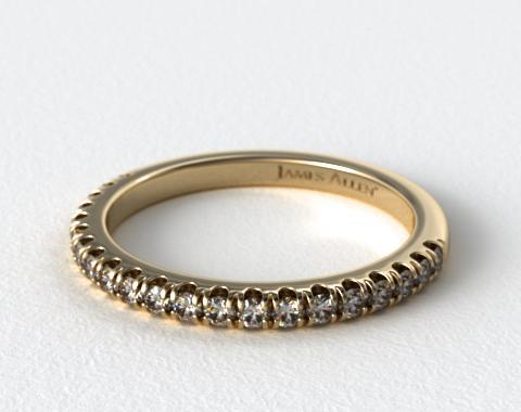 14K Yellow Gold Perfectly Fit Pavé Diamond Wedding Ring