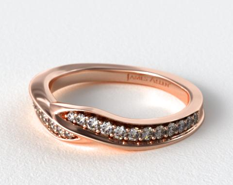 14K Rose Gold Perfectly Matched Pavé Bypass Wedding Ring