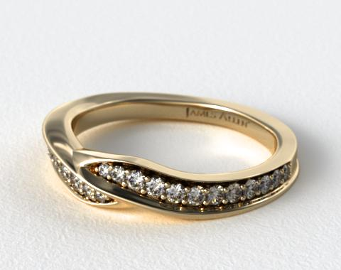 14K Yellow Gold Perfectly Matched Pavé Bypass Wedding Ring