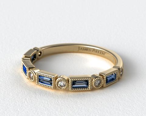 Diamond And Sapphire Baguette Milgrain Ring