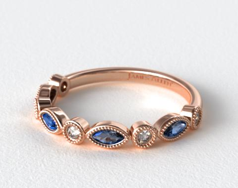 14K Rose Gold Round Brilliant Diamond and Marquise Sapphire Wedding Ring