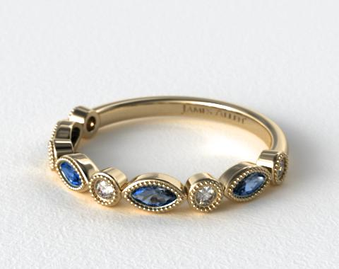14K Yellow Gold Round Brilliant Diamond and Marquise Sapphire Wedding Ring