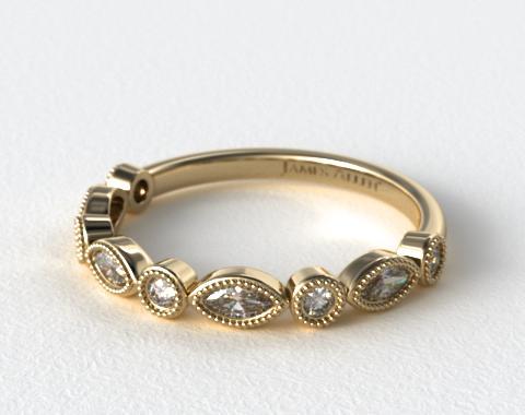 round and marquise diamond wedding ring 18k yellow gold 14825y - Marquise Diamond Wedding Ring