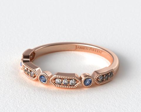 14K Rose Gold Blue Sapphire and Diamond Arrow Shape Wedding Ring