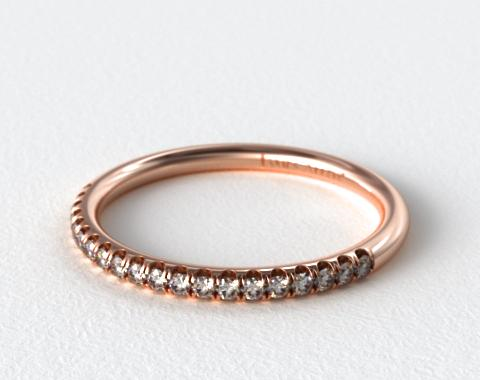 14K Rose Gold Falling Edge Matching Pavé Diamond Ring