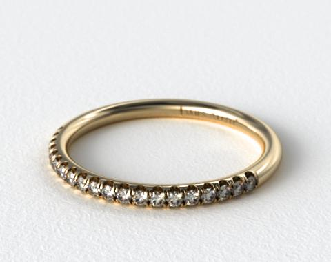 14K Yellow Gold Falling Edge Matching Pave Diamond Ring