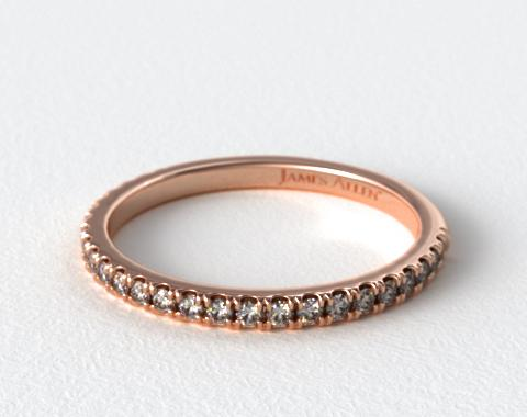 14K Rose Gold Slightly Curved Round Diamond Wedding Ring