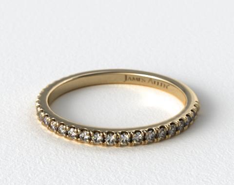 18K Yellow Gold Slightly Curved Round Diamond Wedding Ring