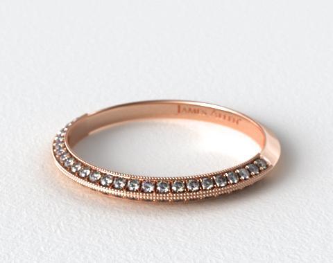 14K Rose Gold Octagon Halo Matching Diamond Ring