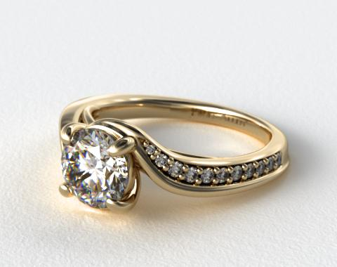 14K Yellow Gold Pave Bypass Diamond Engagement Ring