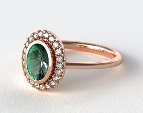 Bezel Set Pave Halo Engagement Ring 14K Rose Gold