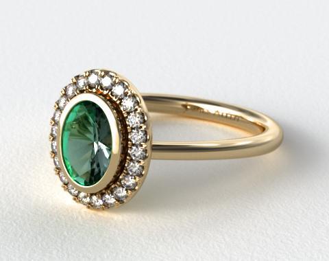 14K Yellow Gold Bezel Set Pave Halo Engagement Ring