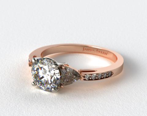 14K Rose Gold Three Stone Trillion and Pave Diamond Engagement Ring