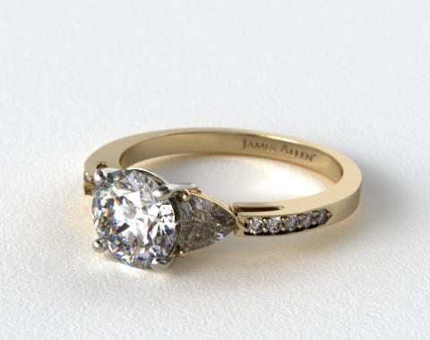 18K Yellow Gold Three Stone Trillion and Pave Diamond Engagement Ring