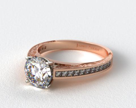 14K Rose Gold Engraved Channel Set Princess Shaped Diamond Engagement Ring