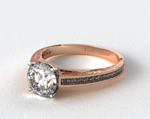 14K Rose Gold Engraved Carre Diamond Engagement Ring