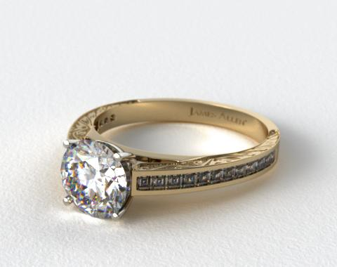 14K Yellow Gold Engraved Carre Diamond Engagement Ring