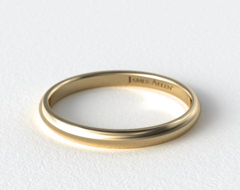 18K Yellow Gold 3mm Slightly Domed Comfort Fit Wedding Ring