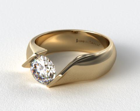 14K Yellow Gold Contoured Twist Tension Set Engagement Ring