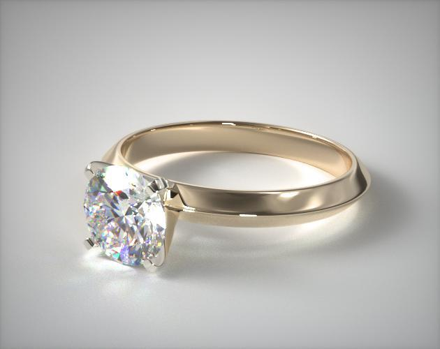 14K Yellow Gold 2.5mm Knife Edge Solitaire Engagement Ring