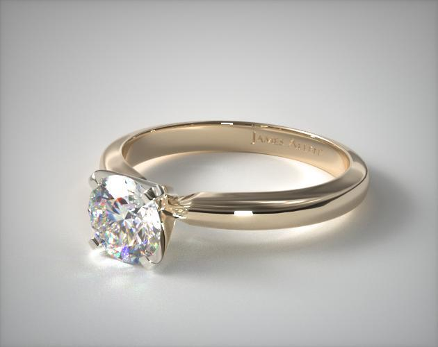 14K Yellow Gold 2.5mm Comfort Fit Solitaire Engagement Ring