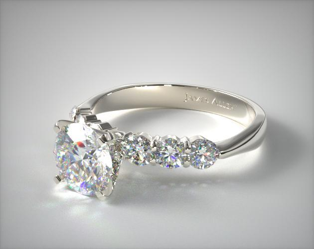 18K White Gold Common Prong Six Round Diamond Engagement Ring
