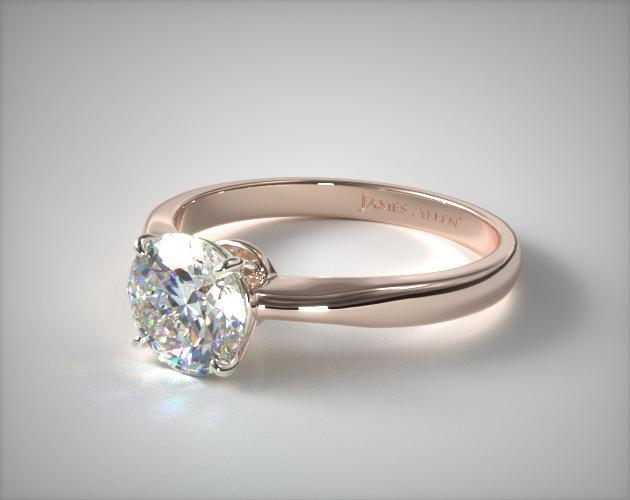 14K Rose Gold 2.2mm Wire Basket Solitaire Engagement Ring