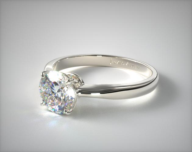 14K White Gold 2.2mm Wire Basket Solitaire Engagement Ring
