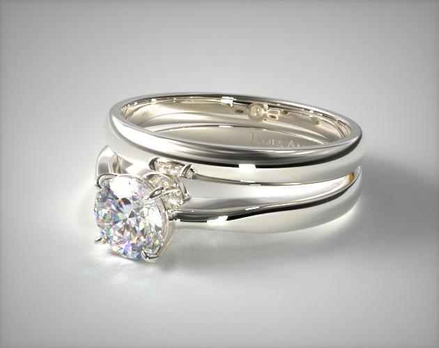 Platinum 2.2mm Wire Basket Solitaire Ring & Made to Match 2.5mm Half Round Wedding Ring