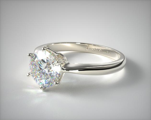 14K White Gold Six Prong Wire Basket Engagement Ring