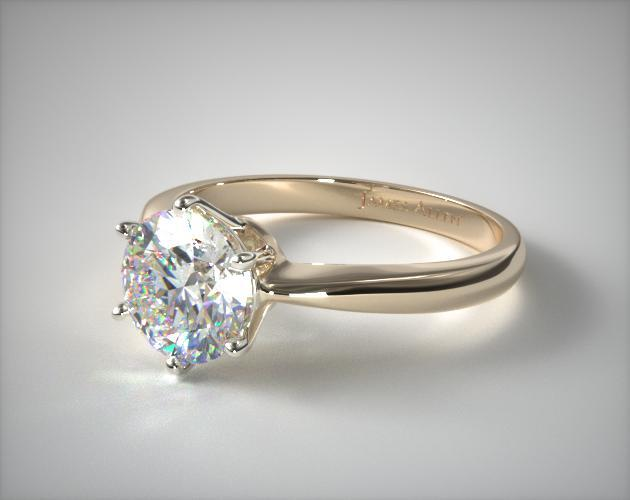 Six Prong Wire Basket Engagement Ring | 14K Yellow Gold | 11011Y14