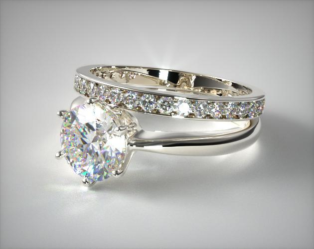 Platinum Six Prong Wire Basket Engagement Ring & 0.17ct Pave Set Wedding Ring