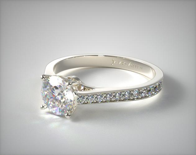 14K White Gold 2.2mm Pave Diamond Engagement Ring
