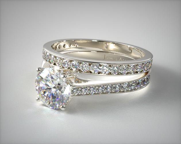 Platinum 2.2mm Pave Diamond Engagement Ring & 0.17ct Pave Set Wedding Ring