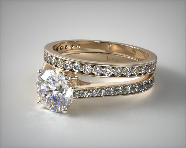 18k Yellow Gold 2.2mm Pave Diamond Engagement Ring & 0.17ct Pave Set Wedding Ring