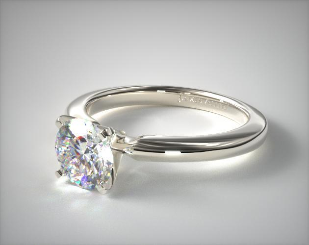 18K White Gold 2mm Comfort Fit Solitaire Engagement Ring
