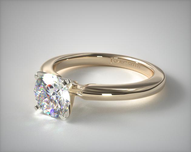 14K Yellow Gold 2mm Comfort Fit Solitaire Engagement Ring