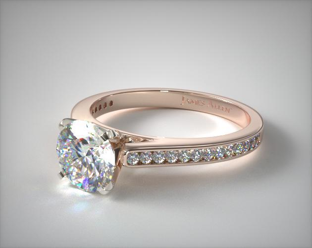 14K Rose Gold Thin Channel Set Round Shaped Diamond Engagement Ring