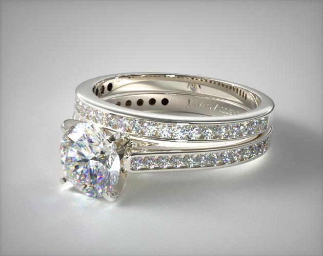 18K White Gold Thin Channel Set Round Shaped Diamond Engagement Ring & .28ct 18K Channel Set Wedding Band