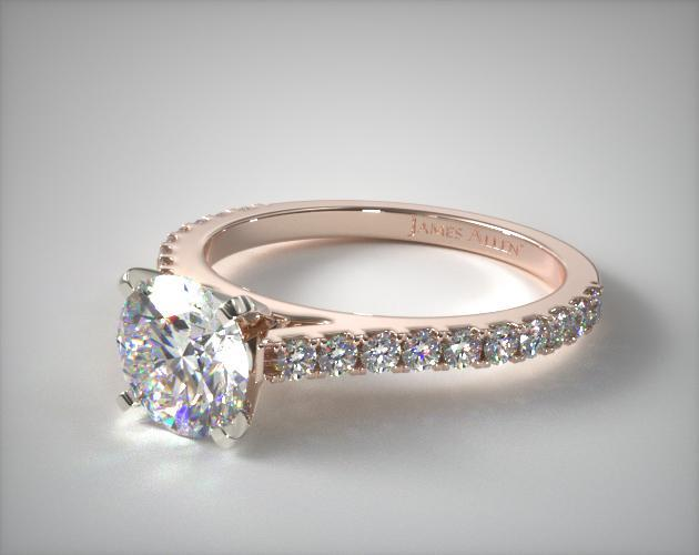 14K Rose Gold Common Prong Round Shaped Diamond Engagement Ring